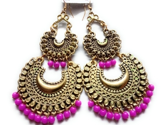 Double Chandbali Pink by Craftleela