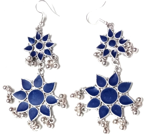 double flower earrings blue